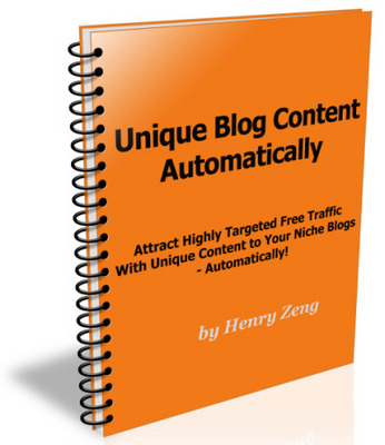 Product picture Unique Blog Content Automatically + Master Resale Rights